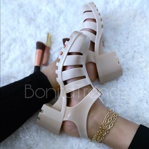 Beige Caged Gladiator Jelly PVC Chunky Sandals